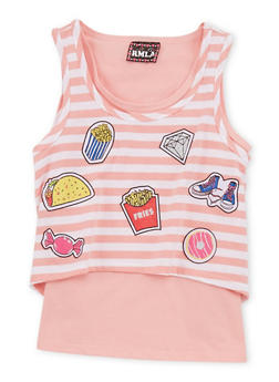 Girls 7-16 Striped Graphic Tank Top - 1635021280006
