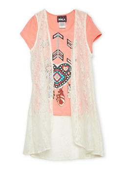 Girls 7-16 Heart Graphic Top with Lace Duster - 1635021280007