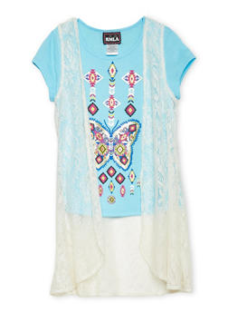 Girls 7-16 Butterfly Graphic Top with Lace Duster - 1635021280008
