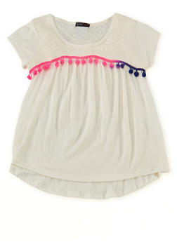 Girls 7-16 Gauze Knit Babydoll Top with Pom Pom Trim - 1635029890003