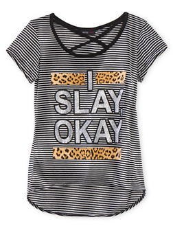Girls 7-16 Striped Tee with Lattice Scoop Neckline and Slay Graphic - 1635029890008