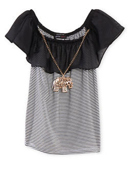 Girls 7-16 Off the Shoulder Striped Top with Ruffle and Necklace - 1635029890012