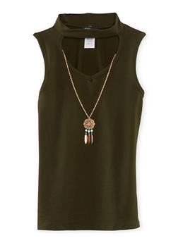Girls 7-16 Cutout Mock Neck Tank Top with Necklace - 1635029890015
