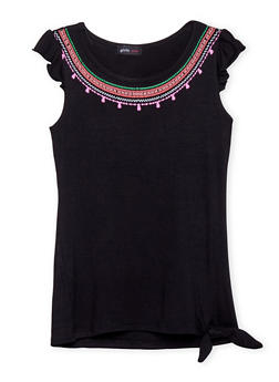 Girls 7-16 Graphic Neckline Top with Cap Sleeves - 1635029890016