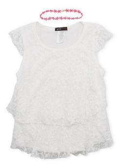Girls 7-16 Tiered Lace Top with Choker Necklace - 1635029890024