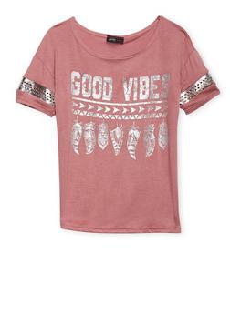 Girls 7-16 Good Vibes Graphic Varsity Top - 1635029890029