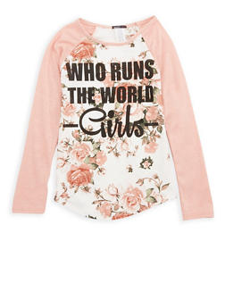 Girls 7-16 Floral Graphic Top - 1635029890034
