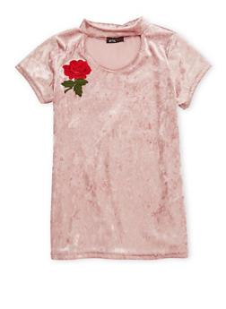 Girls 7-16 Crushed Velvet Rose Patch Top - 1635029890036