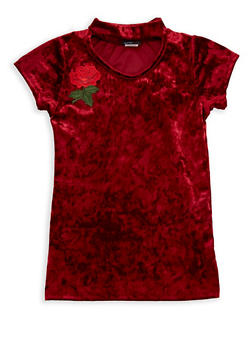 Girls 7-16 Crushed Velvet Rose Patch Top - 1635029890036