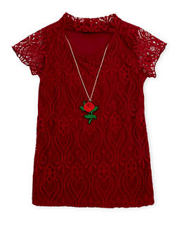 Girls 7-16 Lace Keyhole Neck Top with Necklace - 1635029890037
