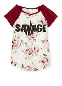 Girls 7-16 Floral Savage Graphic T Shirt - 1635029890063