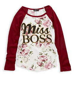 Girls 7-16 Miss Boss Floral Print Top - 1635029890072