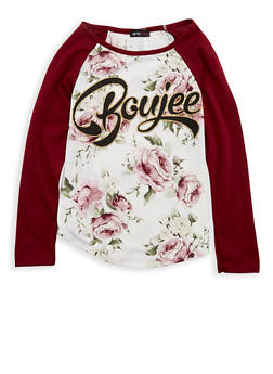 Girls 7-16 Floral Graphic Print Top - 1635029890079