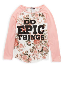 Girls 7-16 Floral Graphic Print Top - 1635029890083