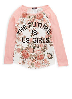 Girls 7-16 Floral Graphic Print Top - 1635029890091