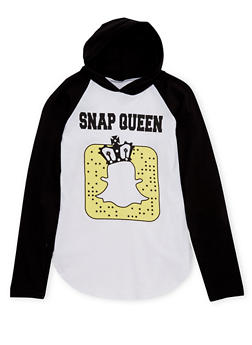 Girls 7-16 Hoodie with Snap Queen Graphic - 1635033870064
