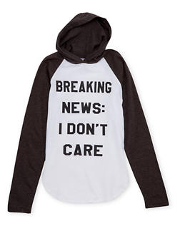 Girls 7-16 Hooded Top with I Dont Care Graphic - 1635033870065