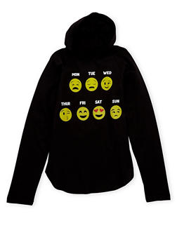 Girls 7-16 Graphic Hooded Top with Days of the Week Emojis - 1635033870067