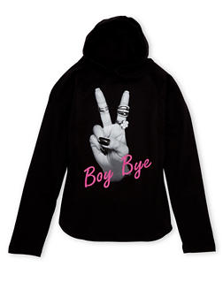Girls 7-16 Hoodie with Boy Bye Graphic - 1635033870069