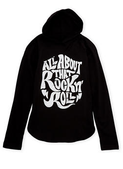 Girls 7-16 Hoodie with Rock N Roll Graphic - 1635033870070