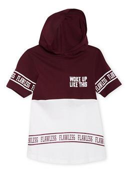 Girls 7-16 Short Sleeve Flawless Hooded Tee - 1635033870072