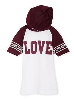 Girls 7-16 Love Graphic Raglan Hooded Tee - 1635033870074