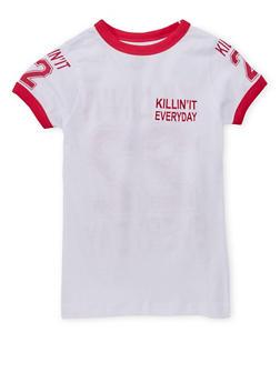 Girls 7-16 Killin It Graphic Ringer T Shirt - 1635033870080