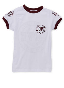 Girls 7-16 Love Graphic Ringer T Shirt - 1635033870083