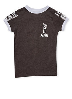 Girls 7-16 Slay or Be Slayed Graphic Ringer T Shirt - 1635033870084