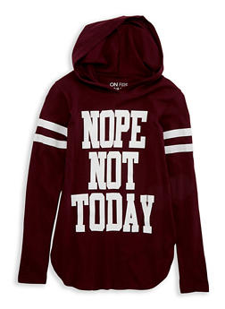 Girls 7-16 Nope Not Today Graphic Hooded Top - 1635033870086