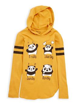 Girls 7-16 Panda Weekend Graphic Hooded Top - 1635033870088