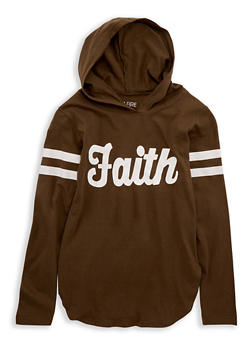 Girls 7-16 Faith Graphic Hooded Top - 1635033870089