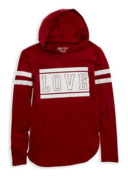 Girls 7-16 Love Graphic Hooded Top - 1635033870090