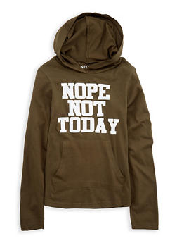 Girls 7-16 Not Today Graphic Hooded Top - 1635033870094
