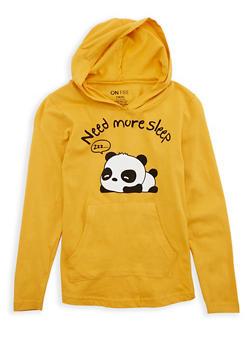 Girls 7-16 Panda Graphic Hooded Top - 1635033870095