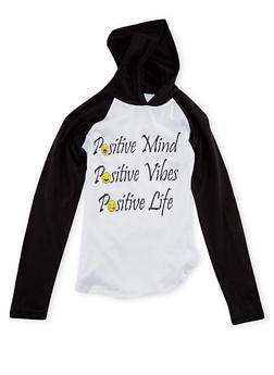 Girls 7-16 Hooded Raglan Top with Positive Vibes Print - 1635033877012