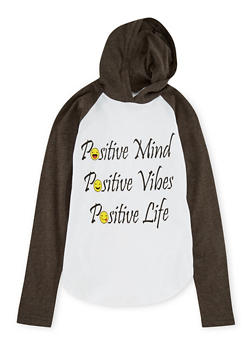 Girls 7-16 Hooded Top with Positive Vibes Emoji - 1635033877015