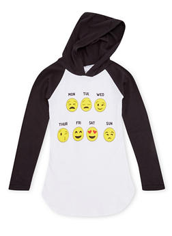 Girls 7-12 Color Block Hooded Top with Emoji Graphic - 1635033877016