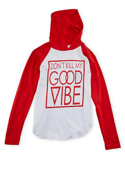 Girls 7-16 Hooded Top with Good Vibe Graphic - 1635033877023