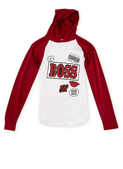 Girls 7-16 Hooded Top with Boss Graphic - 1635033877034