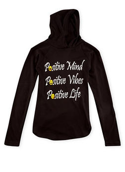 Girls 7-16 Graphic Hoodie with Positive Print - 1635033877043