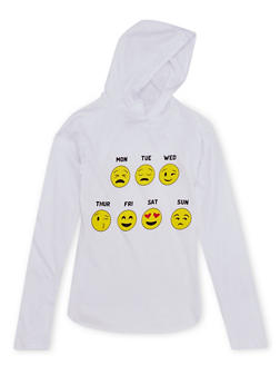 Girls 7-16 Hooded Top with Days of the Week Emoji Graphic - 1635033877044