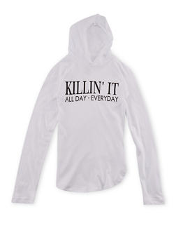 Girls 7-16 Hooded Top with Killin It Graphic - 1635033877048