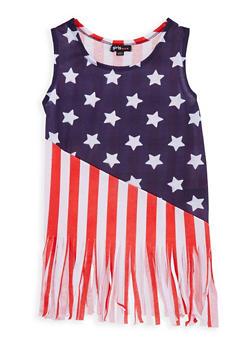 Girls 7-16 Flag Fringe Tank Top - 1635038340014