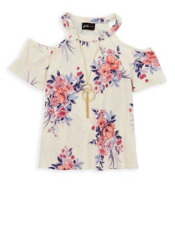 Girls 7-16 Floral Cold Shoulder Top with Necklace - 1635051060003