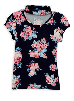 Girls 7-16 Soft Knit Floral Keyhole Top - 1635051060010