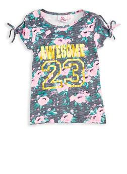 Girls 7-16 Floral Foil Graphic Slit Sleeve T Shirt - 1635054730001