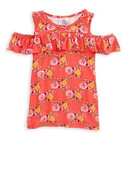 Girls 7-16 Floral Ruffle Cold Shoulder Top - 1635054730007