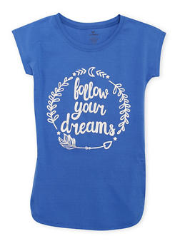Girls 7-16 Cap Sleeve Foil Follow Your Dreams Graphic T Shirt - 1635061950012
