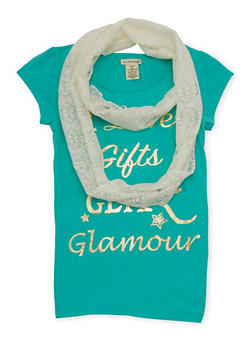 Girls 7-16 Graphic Top with Lace Infinity Scarf - 1635061950014